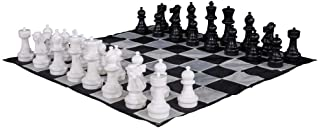 MegaChess Large Premium Chess Set with 12 Inch Tall King Black and White with Quick Fold Nylon Mat