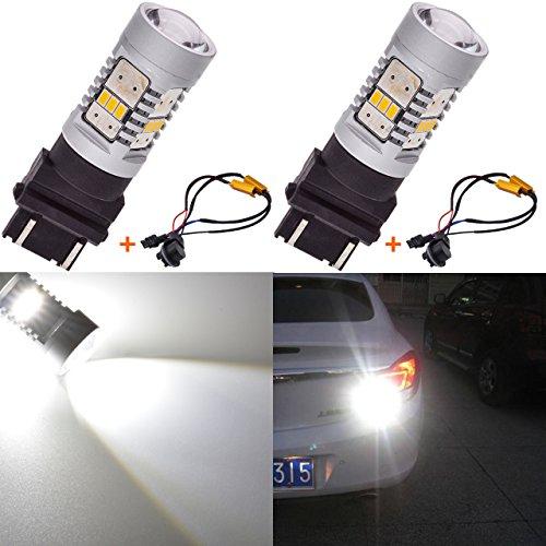 KATUR 1800LM Blanc 3157 3047 3057 Ampoule de Rechange à LED 3020 VR Camper Ampoules de Clignotant pour feu de Stop Sauvegarde de Lampe de Secours avec décodeur Canbus sans Erreur 50W 8ohm