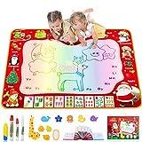 Jojoin Aqua Magic Doodle Matte 120*90cm, Super Große Wasser Doodle Malmatte mit Turnbeutel, Malen Nachschlagewerk und Giraffe Rollenstempel, Kinder -