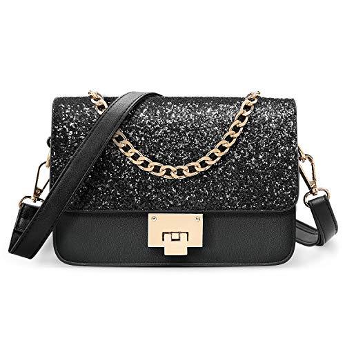 SOOHAO Kleine Tasche Umhängetasche Damen Mode Handtasche für Mädchen Damentaschen Leder Schultertasche Glitzer Clutch mit Abnehmbarem Riemen und Henkel für Party
