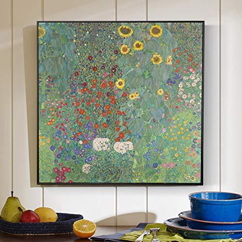Gustav Klimt Famosas reproducciones de pinturas en lienzo Jardín de la granja con girasoles Impresiones artísticas en lienzo Decoración de pared para el hogar Imágenes 60x60cm (24x24in) Marco interior