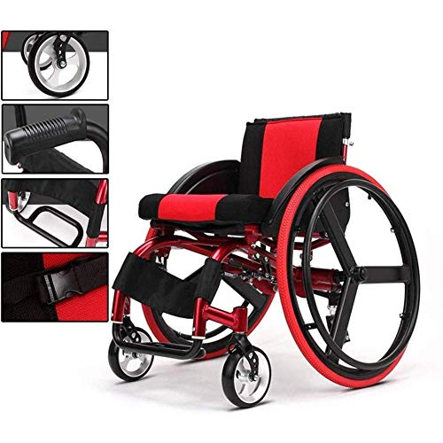 Best Price TXDWYF Portable Wheelchair with Anti-Rear Tilting Device, Aluminum Alloy Folding Sports a...