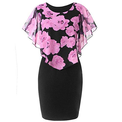 VEMOW Elegant Damen Schlauchrock Casual Plus Size Rose Print Schmetterlingshülse Chiffon O-Neck Rüschen Minikleid (Rosa, 48 DE/XXL CN)