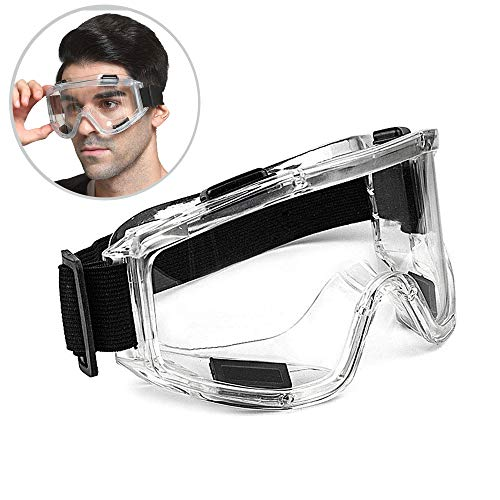 SuperMore Protective Safety Goggles Wide-Vision Lightweight Eyewear Clear Lens Adjustable Eye Protection for Construction Lab Splash Home Lawn