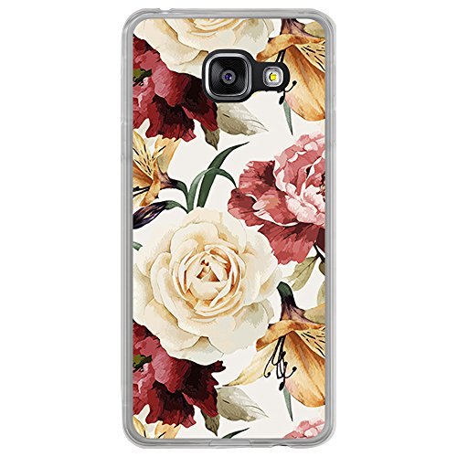 Transparente Hülle für [ Samsung Galaxy A3 2016 ], Flexible Silikonhülle, Design: Mohnblumen und Tulpen der weißen Rosen der Blumen
