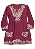 Kumi Pure Cotton Embroidered Tunic, Top, Blouse: Cream Emb on Burgundy, Size XS