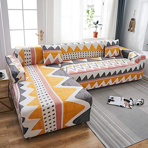 Fsogasilttlv Funda de sofá antisuciedad 1 Plaza, Funda de sofá con Estampado elástico, Funda de sofá de Esquina seccional elástica, Funda de salón en Forma de L G 90-140cm
