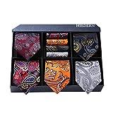 HISDERN Men's Necktie Collections, Lot 5 PCS Classic Men's Silk Tie Set Necktie & Pocket Square with Gift Box,T5-s7,One Size
