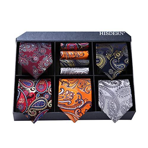 Hisdern HISDERN Lot 5 Stuck Klassisch Formal Elegant Herren Seidenkrawatte Set-Krawatte & Einstecktuch-mehrere Sets