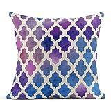 Dekokissen Rosa Muster Aquarell Marokkanisch Lila Blau Rot Abstrakt Marokko Asiatisch Linen Cushion...
