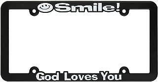 Smile God Loves You Black 12 x 6 Inch Plastic License Plate Frame