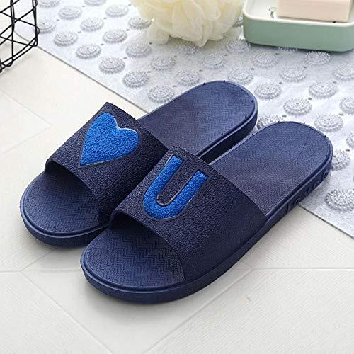 quming Antideslizantes Zapatillas de Baño,Sandalias de Interior Love, Zapatillas de baño Antideslizantes-Azul Oscuro_40-41