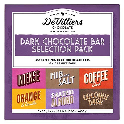De Villiers Dark Chocolate Bar selection 6 pack - Gluten Free Vegan Candy - Vegan Chocolate - GMO Free Chocolate Bar - Assorted mix Gift Pack of 6 bars - 16.9 Ounce