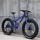 GASLIKE Bicicleta de montaña para Hombres y Mujeres, Cuadro de Acero de Alto Carbono, Freno de Disco mecánico, Ruedas de aleación de Aluminio de 26 Pulgadas,Azul,21 Speed