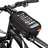Ibera Bicycle Top Tube Phone Bag, Water-resistant Touch Screen Bike Handlebar front phone bag for iPhone XS/XS Max 8/8 Plus, Samsung Galaxy S9 Note, Cellphone Below 6.0 Inch