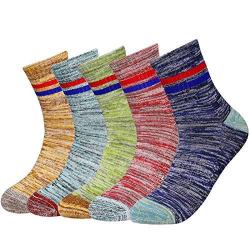 SPGOOD 5 Paar Herren Walking Socken Wicking Cushion Atmungsaktive Crew Socken Outdoor Multi Performance Wandersocken Trekking Laufsocken Athletic Sports (Multi, 36-40)
