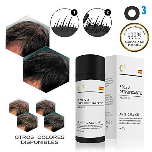 O³ Fibras Capilares Negro 27,5 Gramos Para Caida Del Cabello – Keratin Fibers 100% Natural Para Disimular Calvicie Al Instante| Maquillaje Capilar Para Hombres Y Mujeres