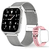 OUTUVAS Smart Watch for Android Phones and iOS Phones, IP67 Swimming Waterproof Smart Watch Fitness, Heart Rate and Sleep Monitor, Activity Tracker with 8 Sports Modes for MenandWomen (Silver)