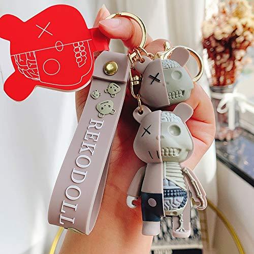 LINGNING Cartoon Funny Half Skull Body Bear Keychain Fashion Punk Animal Keyring Car Bag Pendant Key Chains Couple Gift (Color : C)