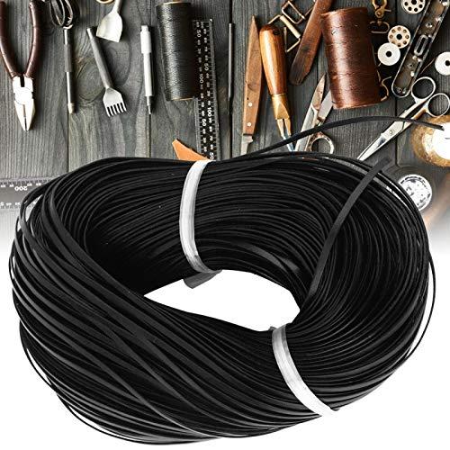 FOLOSAFENAR Cordón de Cuero Cuero Plano 100m de Largo Cuerda Manual de Bricolaje para Collar Manualidades de(Black 3mm*1mm 100 Meters)