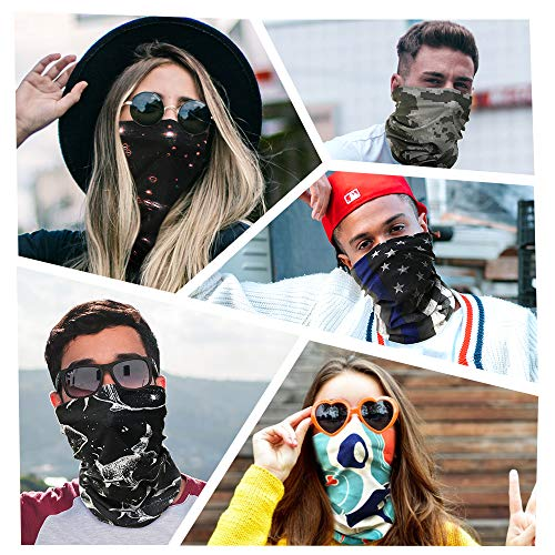 TALONITE Neck Gaiter Face Cover Mask (6 Pack) -Seamless Bandana for Rave, Festivals, Outdoor Dust, Sun, Wind Protection, Headwear, Magic Scarf, Headband for Men Women