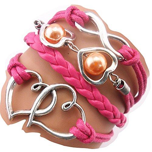 Ac Union ACUNION™ Handmade Cross Heart Pear Charm Friendship Gift Leather Bracelet