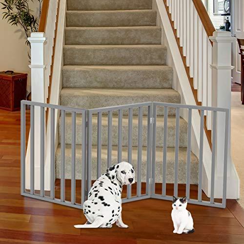 PETMAKER 80-62875-G Wooden Pet Gate- Foldable 3-Panel Indoor Barrier Fence, Freestanding &...