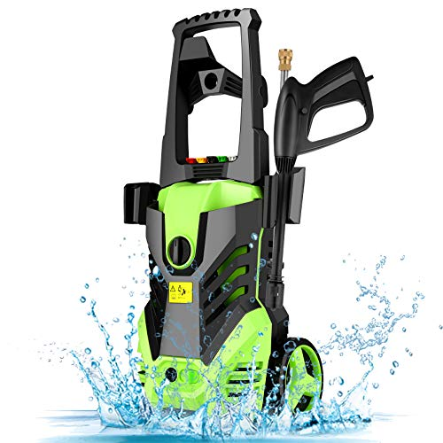 Homdox Electric High Pressure Washer 2950PSI 1.7GPM Max Power Pressure Washer Machine 1800W with Power Hose Gun Turbo Wand, 5 Quick-Connect Spray Tips and Rolling Wheels