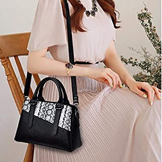 HAWEEL Anti-Theft Classic Retro Messenger Travel Snakeskin Grain Splicing-style PU Leather Single Shoulder Bag Messenger Bag Ladies Handbag (Black) Sling Crossbody Mini Purse One Size