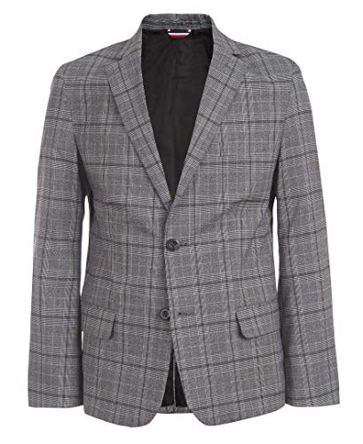 Tommy Hilfiger Boys' Big Blazer Suit Jacket, Plaid Black, 16
