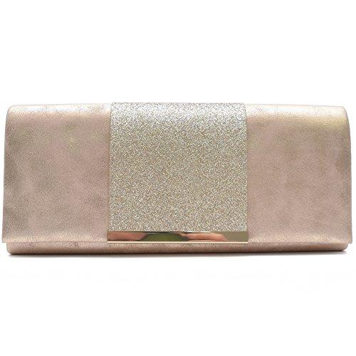 Vain Secrets Damen Umhänge Tasche Abendtaschen Clutch in vielen Farben (25 cm Lang - 10 cm Hoch - 6 cm Breit, Champagne)
