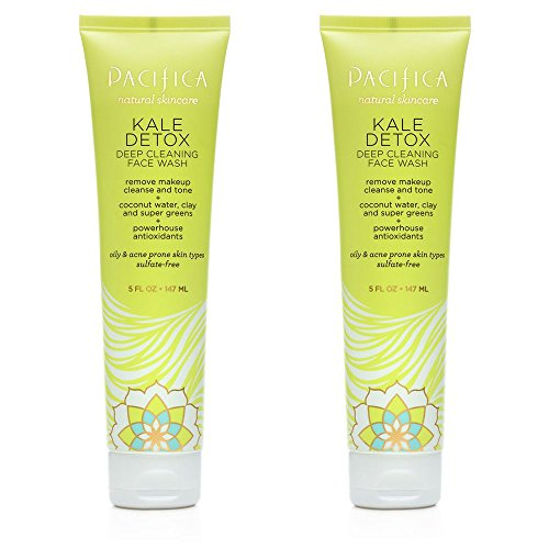 Pacifica Kale Detox Deep Cleaning Face Wash For Clean Skin, Blemishes and Breakouts With Super Green Phytonutrients, Kale, Seaweed, Blue Seakale and Coconut Water, 5 fl. oz. (Pack of 2)