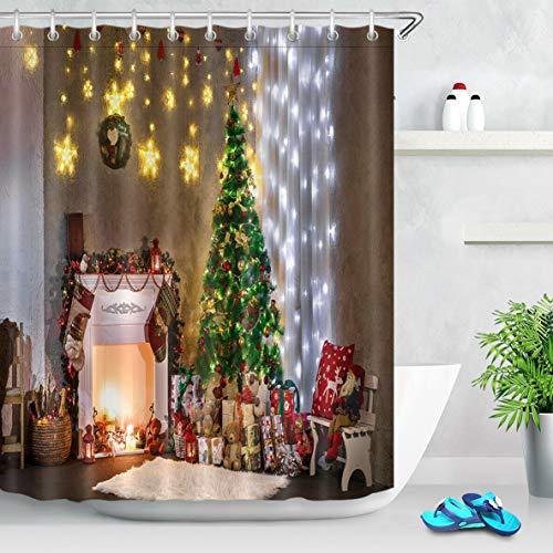 123456789 kerstkamer open haard boom douche gordijn set badkamer stof badgordijnen