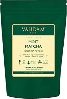 VAHDAM, MINT + MATCHA Green Tea Powder - Brew Delicious Mint Matcha Latte   POWERFUL SUPERFOODS BLEND   Pure Japanese Matcha Powder with 100% Natural Mint 🍵 137x ANTI-OXIDANTS, 1.76oz (25 Servings)