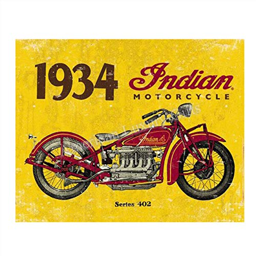 1934 Indian Motorcycle Vintage Print- 8 x10' Retro Wall Decor- Ready To Frame. Home Decor- Office Decor. Indian Motorcycle Gifts & Collectibles. Perfect for Bar-Man Cave-Game Room-Garage.
