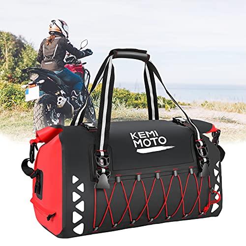 Kemimoto Motorcycle Dry Bag 50L, Motorcycle Luggage Bag Motorcycle Tail Bag Waterproof Motorcycle Duffel Bag Travel Bag Back Seat Rack Trunk Bag for Motorcycle Trip Rainproof Bolsa Impermeable