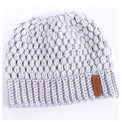 SHYPT Invierno Sombreros de Punto Invierno Damas Sombreros Damas niñas estirarse Sombreros de Punto Caballo Cola de Caballo Gorras Perforadas Sombreros de cálido Sombreros (Color : C)