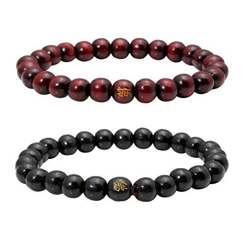 Milakoo 2 Pcs 8MM Buddha Meditation Mala Prayer Beads Natural Wood Bracelet Men Women Bead Bracelet
