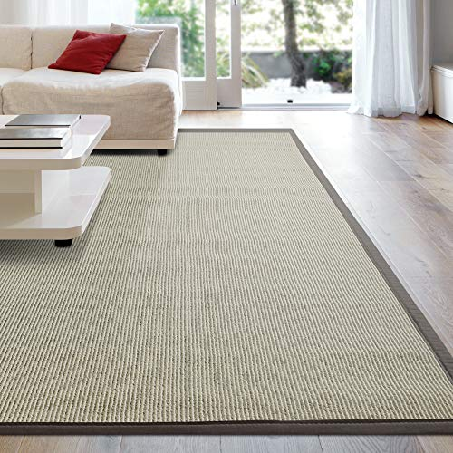 iCustomRug Zara Synthetic Sisal Collection Area Rug and Custom Size Runners, Softer Than Natural Sisal Rug, Stain Resistant & Easy to Clean Beautiful Border Rug in Brown 6' x 8'
