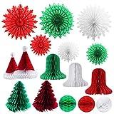 qianqian56 16 piezas decoraciones de nido de abeja de Navidad surtidos decoración de panal de papel 3D
