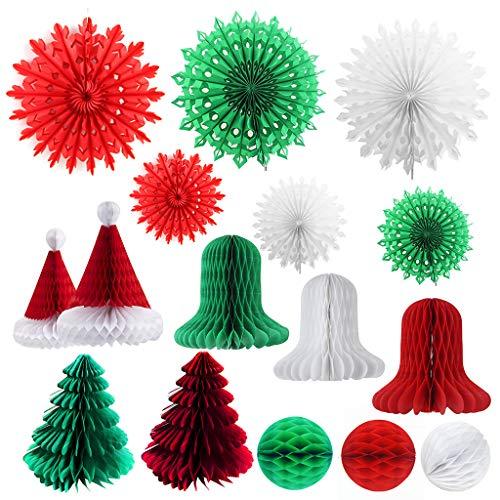 CHIHUOBANG 16 piezas decoraciones de nido de abeja de Navidad surtidos de papel 3D decoración de nido de abeja colgante árbol bola campana sombrero copo de nieve para regalos de fiesta de Navidad