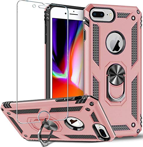 """Folmeikat Compatible with iPhone 8 Plus,iPhone 7 Plus,iPhone 6s Plus/ 6 Plus Phone Case,Screen Protector 360 Degree Rotating Metal Ring Slim Shock Absorption Reinforced Corner 5.5""""(Rose Gold)"""