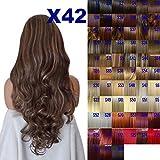 perruque Fashion 66cm Mesdames 3/4Perruque moitié Fall–sexy longs bouclés style–Marron foncé/blond doré Mix...