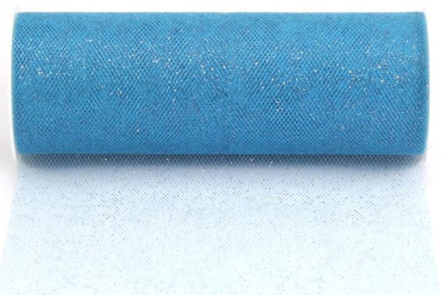 Kel-Toy Glitter Tulle Fabric, 6-Inch by 10-Yard, Ice Blue