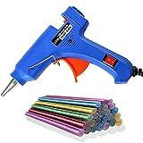 SunAurora 20W Pistola de Silicona, Mini Pistola de Pegar con 30 Barras Pegamento,para Manualidades DIY, Arte, Reparaciones (Azul)