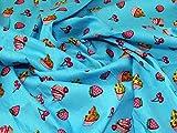 Cupcakes & Kirschen Print Baumwolle Popeline Kleid Stoff,
