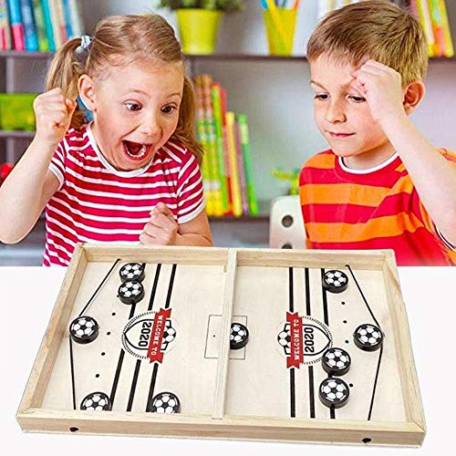 ATopoler Katapult Brettspiel, Mini Tischfußball, Brettspiel Hockey, Schnelles Sling Puck Spiel, Portable Board Games aus Holz Brettspiel Schnell, Fußbal Game für Kinder Familie