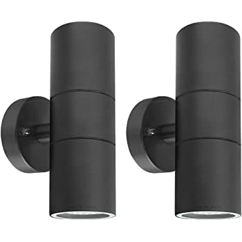 2 X Black Stainless Steel Double Outdoor Wall Light Ip65 Up Down Garden Wall Lamp Zlc035b Matt Black Amazon Co Uk Lighting