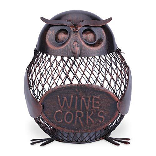 Botellero de malla con diseño de búho, soporte para botellas de vino con forma de búho y corcho, decoración artística de hierro (color: marrón)