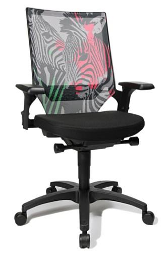 Topstar AU400AGC8 Bürostuhl, Schreibtischstuhl, Autosyncron Urban, Motiv Zebra